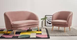 Vintage Curved Sofa by Gertie 2 Seater Sofa Vintage Pink Velvet Made Com