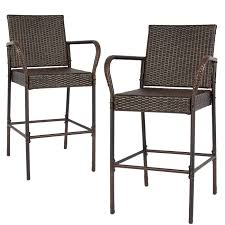 Furniture Choice Best Choice Products Set Of 2 Outdoor Brown Wicker Barstool