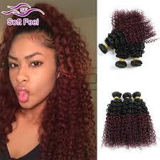 Hair Weave Extensions by Ombre Brazilian Virgin Hair Curly 3 Bundles Burgundy