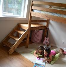 Wooden Bunk Bed Plans Free by Ana White Camp Loft Bed With Stair Junior Height Diy Projects