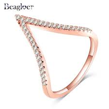 gold and cz v shaped ring sterling silver jaebee jewelry beagloer brand trendy v shape design ring for women gold