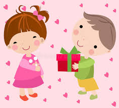 send a gift boy to send a gift to a girl stock vector illustration of