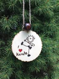 woodburned karate ornament personalized hanging ornament
