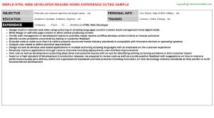Sample Resume Title by Html Web Developer Job Title Docs