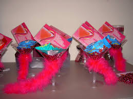 pink cosmopolitan drink bachelorette party favors mini boa wrapped around a martini glass