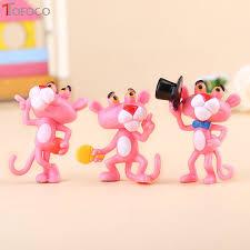tofoco 6pcs set mini pink panther figure toys