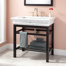 modern console vanity with carrara marble sink top oil rubbed