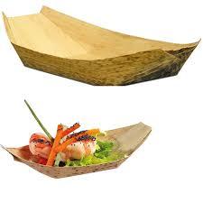 bamboo disposable plates 20pcs lot 7 disposable bamboo boat shape dishes plates bowl