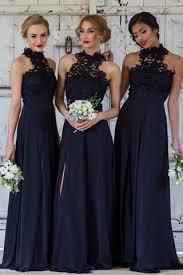 navy blue high neck sleeveless split bridesmaid dresses with