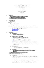 Resume Samples In English by Lesson Plan For Preposition