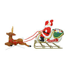 outdoor santa with sleigh and reindeer blow mould christmas figure