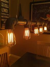 industrial vintage look 5 light edison bulb iron pipe