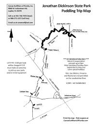 Kayak Map Jonathan Dickinson State Park Run Canoe Outfitters Of Florida