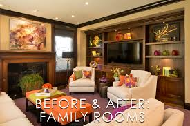 vibrant transitional family room before and after san diego
