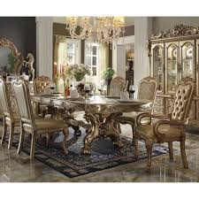 dresden dining table in gold patina and bone by acme furniture