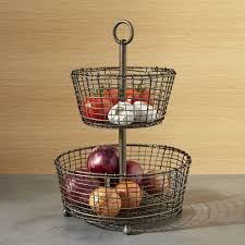 tiered fruit basket bendt 2 tier iron fruit basket crate and barrel