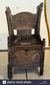 Wooden Chair Scandinavia Carved Wooden Chair Wood Blakar Lom Oppland Stock