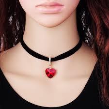 choker necklace with pendant images Wholesale rhinestone faux diamond heart pendant velvet choker jpg