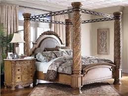 bedroom canopy bedroom sets design with brown pillar and white