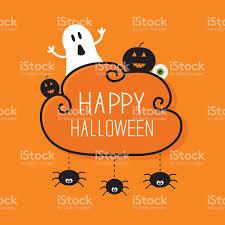 ghost pumpkin eyeball three hanging spiders halloween orange flat