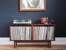 Record Storage Cabinet Mid Century Medium Record Storage Cabinet Console Vinyl