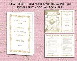 printable wedding drinks menu template art deco great