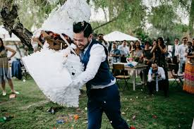 wedding cake pinata instead of cutting cake this smashed open a wedding cake