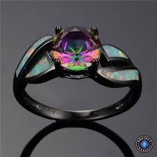 opal rings images Black gold filled mystic cubic zirconia fire opal ring project jpg