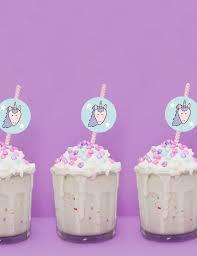 cake milkshake unicorn straw toppers free printable