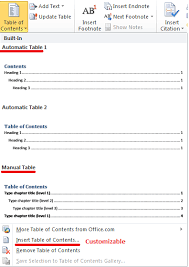 create table of contents in word inserting table of contents using microsoft word 2010 niraj bhatt