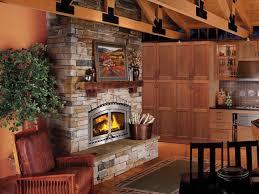 interior rustic stone fireplace design idea with light brown