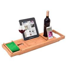 Bathtub Wine And Book Holder Bamboo Bathtub Caddy With Extending Sides And Adjustable Book