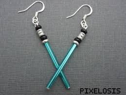 wars earrings shiny turquoise lightsaber earrings wars jewelry luke