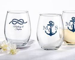 personalized glasses wedding nautical wedding stemless wine glasses