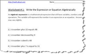 algebra age related word problem worksheets ss