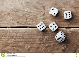 Wooden Table Top View White Dice On Wooden Table Top View Gambling Devices Game Of
