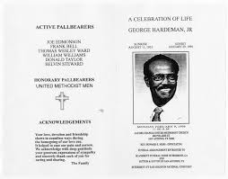 Programs For Funeral Services Funeral Program For George Hardeman Jr February 9 1998 Page