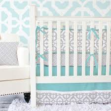 Gray Baby Crib Bedding Gray Aqua Mod Baby Bedding Caden