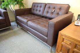 knoll leather replica 2 seater sofa brown 56 5