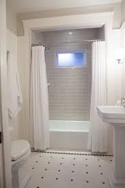 description small classic bathroom gray subway tile black white