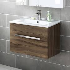 600mm walnut wall hung basin cabinet avon bathempire ensuite