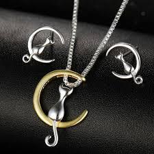 cat on the moon necklace and earrings set fancy feline fans
