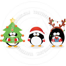 cartoon christmas penguin set by pinar ince toon vectors eps 25638