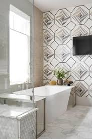 Bathroom Accent Tables Freestanding Bathtub On Large Marble Hex Floor Tiles