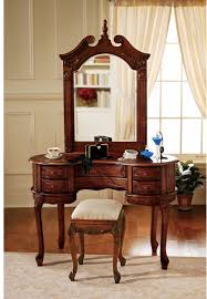 Wood Vanity Table Fancy Decorating Ideas Using Oval Brown Wooden Vanities And