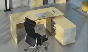 Smart Office Desk Smart Office Desk With Side Cabinet In White Oak Boss U0027s Cabin