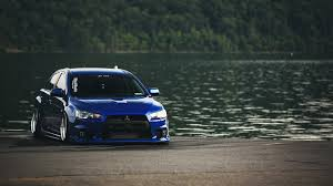 slammed cars iphone wallpaper cars lakes mitsubishi lancer evolution x rims stance trees walldevil