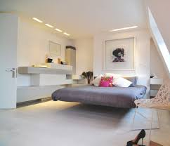 floating bed futuristic grey bedroom floating bed and white wall shelves decor