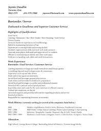 Sample Of A Job Resume by Bartender Resume Berathen Com