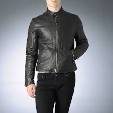 armani jeans leather biker jacket in brown for men lyst